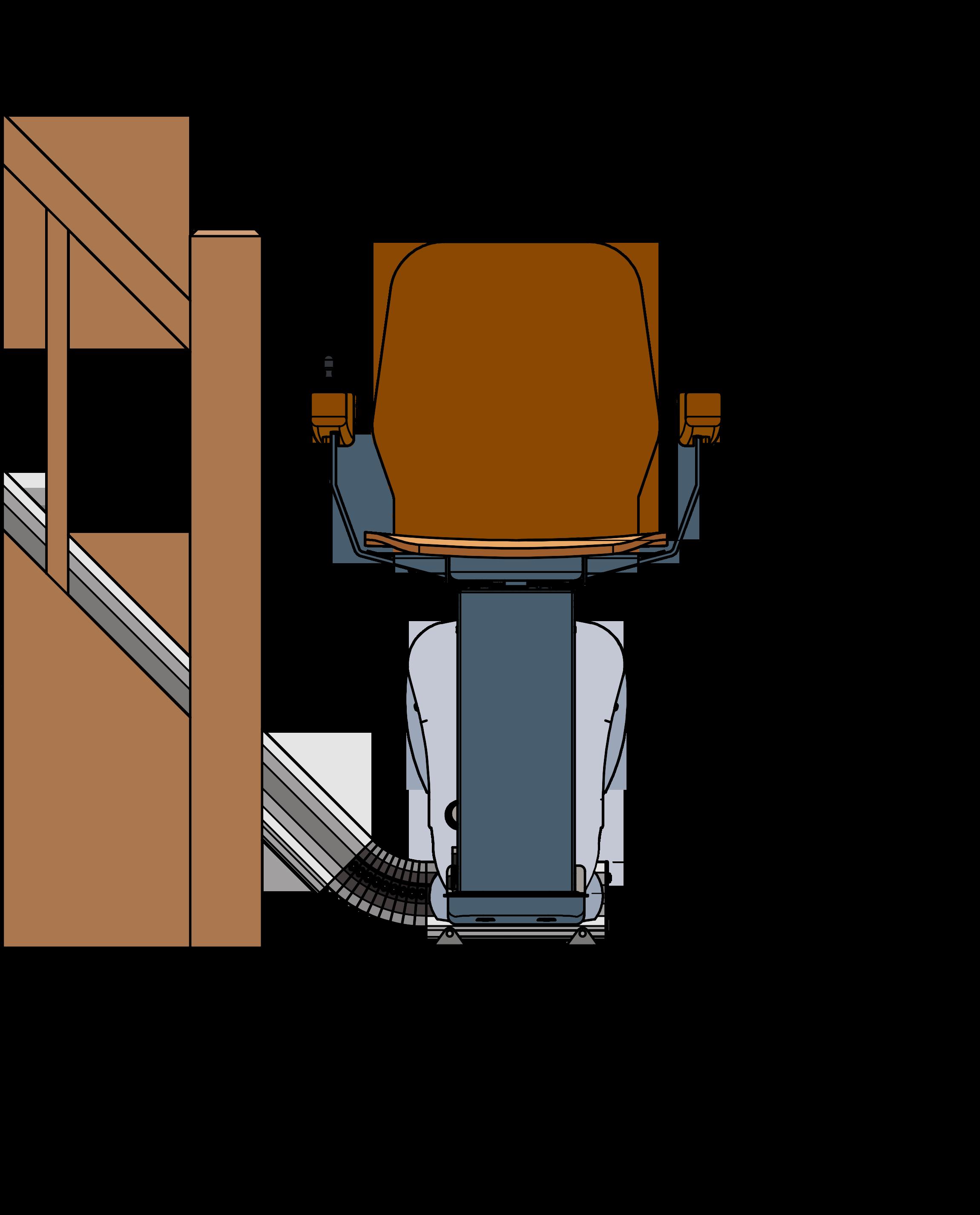 Dieses Bild zeigt eine schematische Frontalansicht eines UP-Treppenlift neben einem Treppenaufgang.