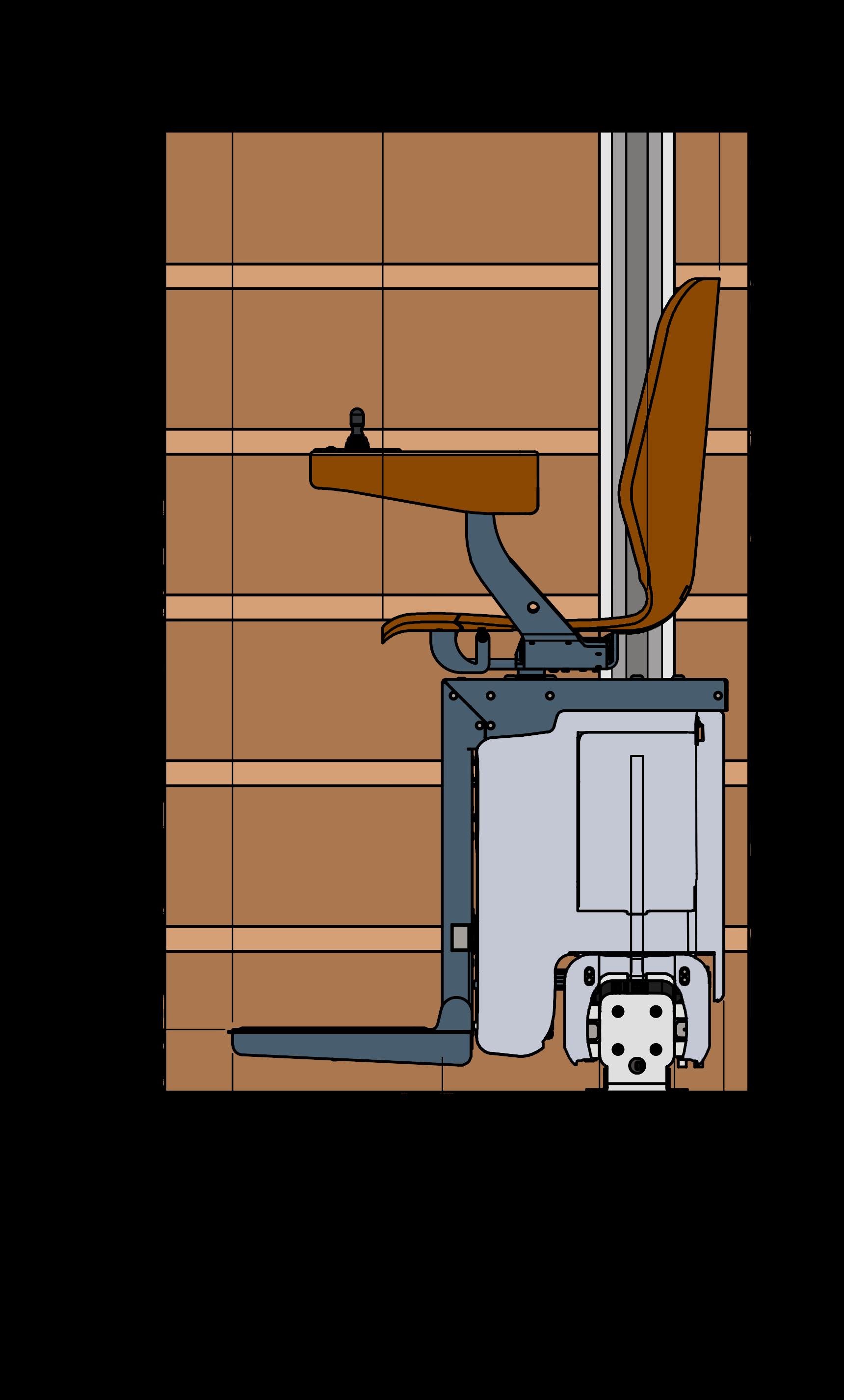 Dieses Bild zeigt eine schematische Seitenansicht eines UP-Treppenlift auf eine braunen Treppe.