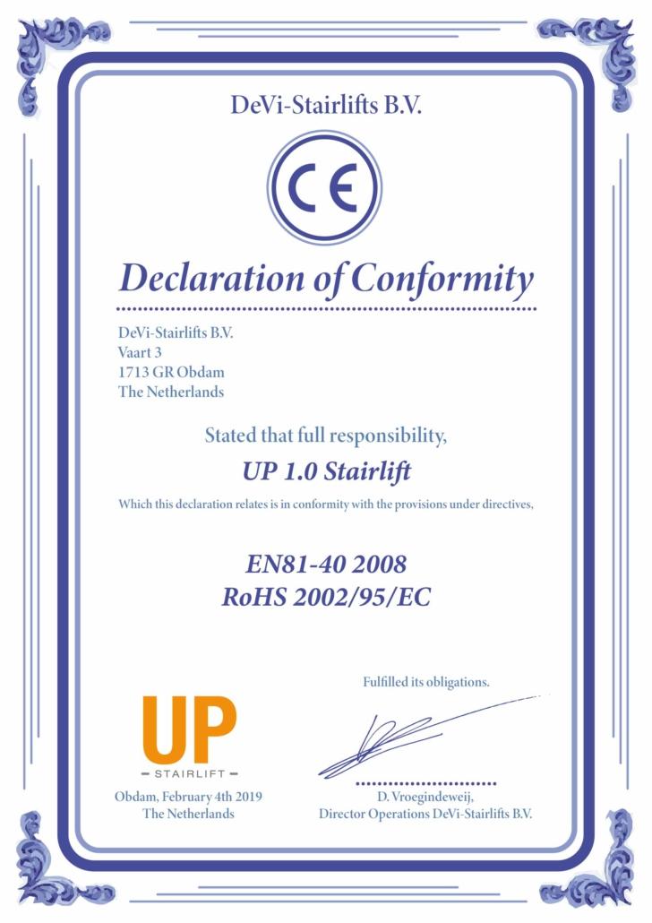 Dieses Bild zeit ein CE Zertifikat des UP-Treppenlift.