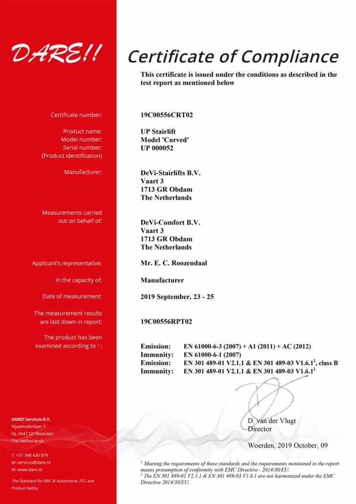 Dieses Bild zeigt eine Certificate of Compliance.