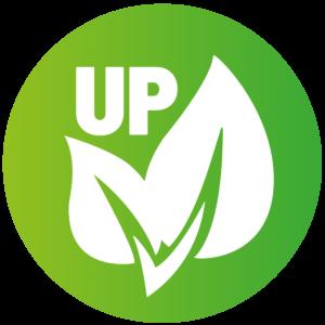 Bild zeigt einen grünen Kreis in dem zwei weiße Blätter abgebildet sind, ein kleines und ein großes. Über den Blättern steht in weißen Großbuchstaben UP. Rubrik Treppenlift/Treppenlift kaufen/Treppenlift mieten/Kosten Treppenlift/Preise Treppenlift/Föderung Treppenlift