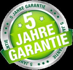 Diese Bild zeigt ein Siegel mit einem runden silbernen Rahmen und grünem Hintergrund mit der Aufschrift 5 Jahre Garantie
