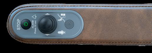 Dieses Bild zeigt eine linke braune Armlehne mit Joystick aus Kunstleder eines UP-Treppenlift. Rubrik Treppenlift/Treppenlift kaufen/Treppenlift mieten/Kosten Treppenlift/Preise Treppenlift/Föderung Treppenlift