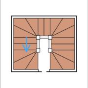 Das Bild zeigt eine schematische Darstellung einer doppelten U-Treppe.