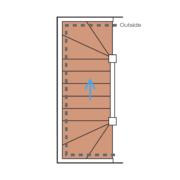 Das Bild zeigt eine schematische Darstellung einer kurzen U-Treppe.