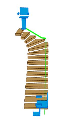3D Schema L-Treppe mit wandseitigem Treppenlift. Rubrik Treppenlift/Treppenlift kaufen/Treppenlift mieten/Kosten Treppenlift/Preise Treppenlift/Föderung Treppenlift