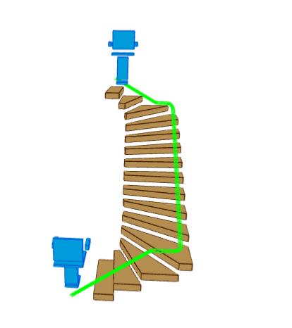 3D Schema U-Treppe mit wandseitigen Treppenlift. Rubrik Treppenlift/Treppenlift kaufen/Treppenlift mieten/Kosten Treppenlift/Preise Treppenlift/Föderung Treppenlift